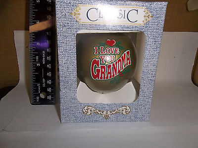 I Love You Grandma Christmas Tree Glass Ornament Classic 3 1/4 Inch w Box gold