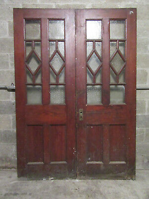 ~ ANTIQUE OAK DOUBLE ENTRANCE FRENCH DOORS  ~ 60 x 85 ~  ARCHITECTURAL SALVAGE