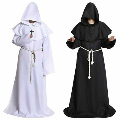 Medieval Monk Robe Halloween Cosplay Party Hooded Cape Costume Cloak BLACK White