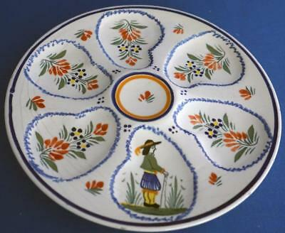 Henriot Quimper Oyster Plate French Faience Pottery