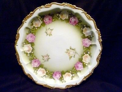 "12"" Antique R.C. ROSENTHAL China ALICE Plate PLATTER Pink & White ROSES Bavaria"