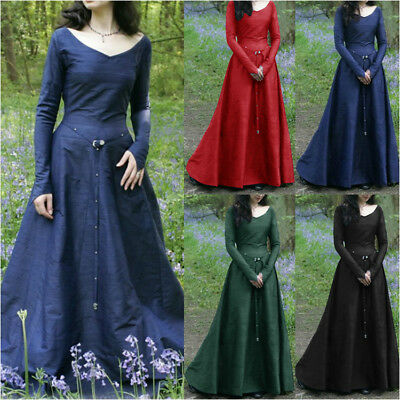 Fashion Womens Medieval Renaissance Gothic Party Halloween Costume Long Dress