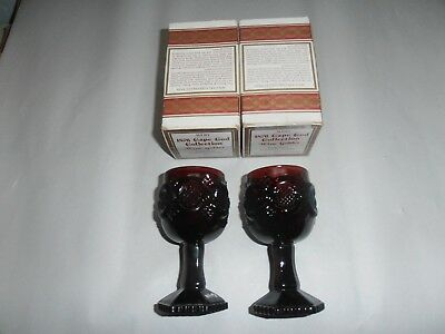 2 Avon 1876 Cape Cod Red Ruby Collection Wine Goblets, Ob