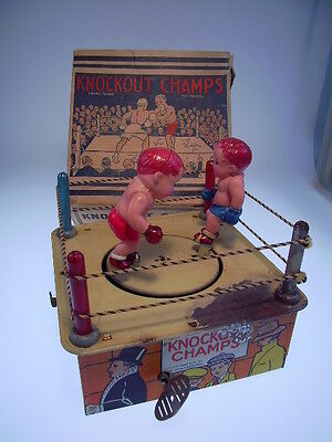 """knockout Champs"" Marx, Celluloid Boxers !, Windup Ok, In Very Good Box !"
