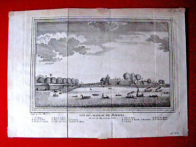 1761 Jakarta INDONESIA Batavia JAVA  antique folding engrv town view from sea