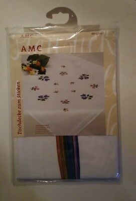 """AMC 48537 """"Scattered Flowers"""" Tablecloth Embroidery Kit 31"""" x 31"""" 100% Cotton"""