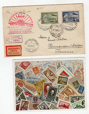 1931 Russia Zeppelin Cover Lot of 2, Polar Flight Leningrad Malyguin - Si120Bb*