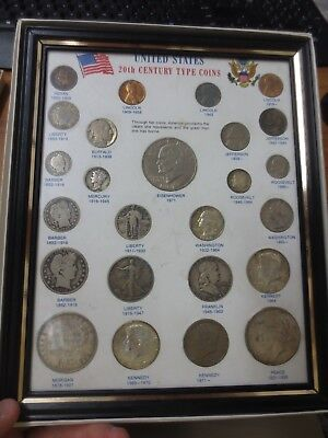 United States 20th Century Type Coins Set in Frame (a)