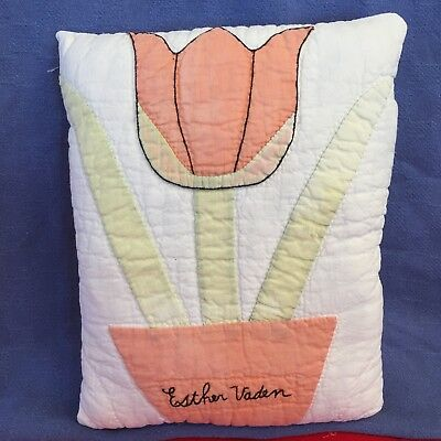 Primitive OOAK handmade pillow~Cottage/vintage quilt/ applique/name, Peach/Green