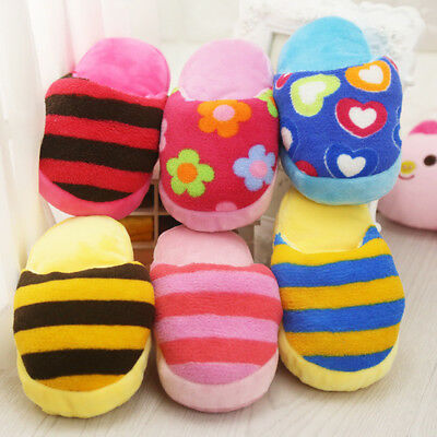 Pet Puppy Cat Small Dog Squeaky Squeaker Sound Slipper Shape Plush Chew Play Toy
