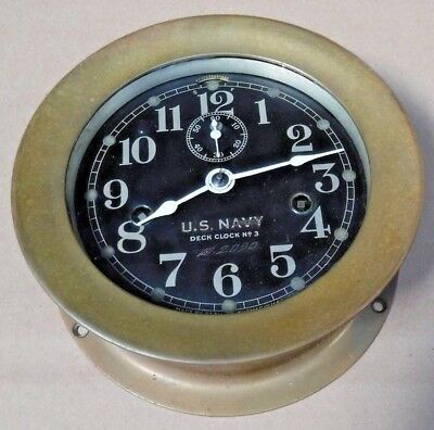 Antique Seth Thomas U.s. Navy Deck Clock #3 Double Spring Ship's Clock Working