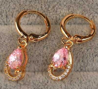 18K Yellow Gold Filled - 5*7mm Waterdrop Pink Topaz Gemstone Cocktail Earrings
