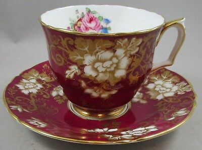 Vintage Crown Staffordshire Burgundy Heavy Gold Floral Cup and Saucer - Teacup