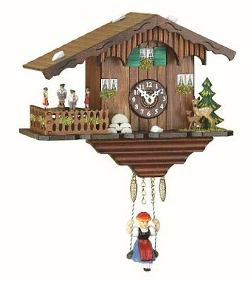 Kuckulino Black Forest Clock Swiss House With Quartz Movement And Cuckoo Chime,