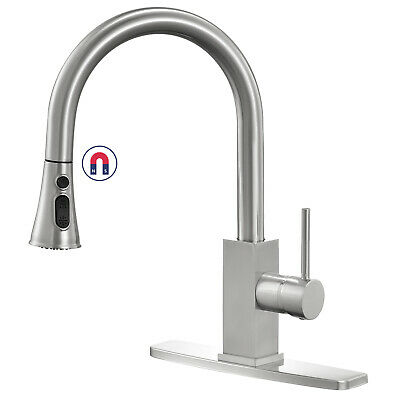 Stainless Steel Kitchen Sink Faucet Pull Out Sprayer Single Lever Brushed Nickel