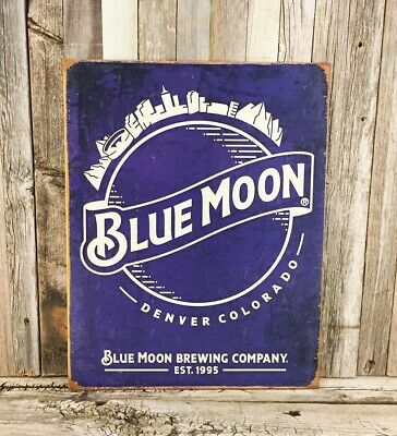 Blue Moon Beer Brewing Metal Tin Sign Rustic Brewery Man Cave Bar Vintage Garage