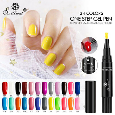 5/24PCS Saviland One Step Gel Varnish Pen Glitter 3 In 1 Nail Polish UV Lacquer