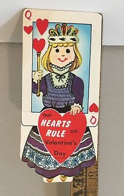 "Vintage Valentine Card 70s Playing Card Queen Of Hearts ""Hearts Rule"""