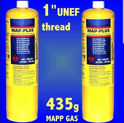 2 X Mapp / Map Plus Propane Bottle Disposable Gas Cylinder plumbers