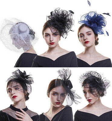 Ladies' Day Fascinator Hat Feather Hair Clip Cocktail Party Headband Wedding New