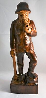 Black Forest Wooden Wood Carved Woodsman Man Figure with Pipe & Stick 32cm High