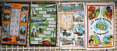 Lot of 4 Vintage Tea Towels RETRO 80s Calendars & Adelaide Hills & Bible Society