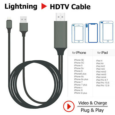 Lightning to HDMI 1080p Adapter Cable HDTV Screen Mirroring Cast For iPhone