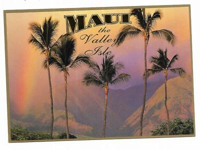 Vintage Hawaii Chrome Postcard Maui Valley Isle Palm Trees Rainbow Backdrop
