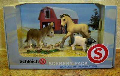 Schleich Scenery Pack~Baby Farm Animals~Foal, Donkey, Ducks, Piglet~Colt, Pig