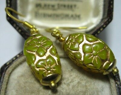 Vintage Jewellery Beautiful Yellow & Gold Flower Carved Glass Bead Drop EARRINGS
