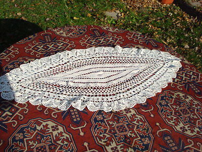 Rrr! Vintage Oval Elipsе White Hand Made Knitting Tablecloth Croched