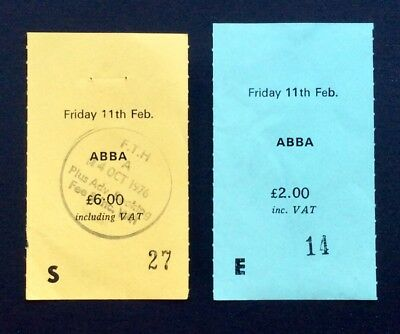 ABBA - February 11, 1977 2 Used Concert Ticket Stubs Free Trade Hall, Manchester