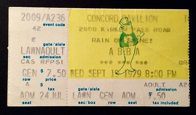 ABBA - September 19, 1979 Used Concert Ticket Concord, USA - VERY RARE!