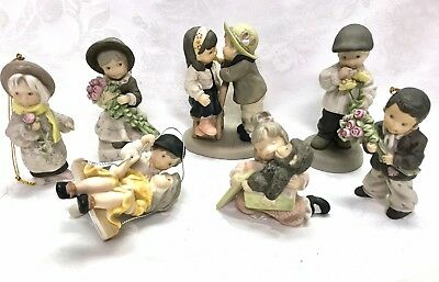 Lot Of 7 Enesco Pretty As A Picture Figurines Designed By Kim