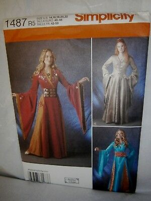 Halloween Cosplay Costume Pattern Simplicity 1487 Size 14 to 22  Asian Princess