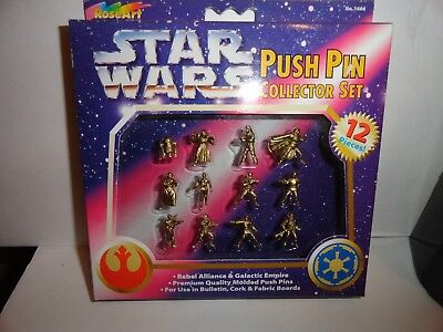 Star Wars 1997 Gold Push Pin Collector Set 12 Micro Minis Characters New Vintage