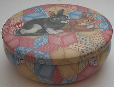 Easter Bunny Round Tin Quilted Rabbit Tin Bunnies Galore Metal Container