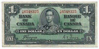 1937 Bank of Canada George VI  $1 Dollar  Coyne / Towers P. 21 /21d VF