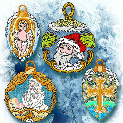 Christmas Tree Decorations  20 Machine Embroidery Designs Cd 2 Sizes Included