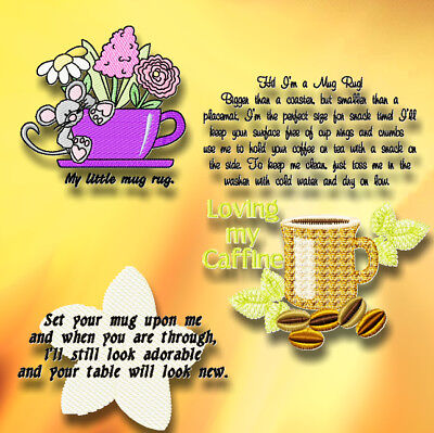 Quilt mug rug sayings 10  MACHINE EMBROIDERY DESIGNS CD 3 SIZES