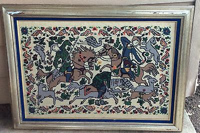 Medieval Hunters on Horse Completed Needlepoint / Tapestry - Large