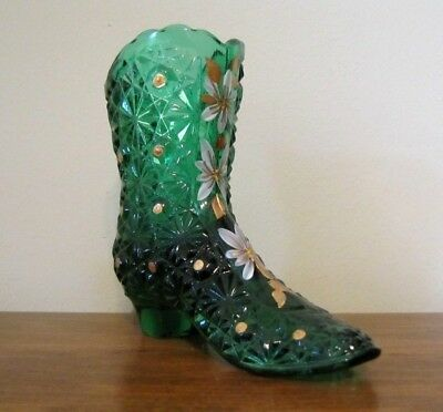 Fenton Glass 2003 MUSEUM COLLECTION EMERALD GREEN HAND PAINTED BOOT