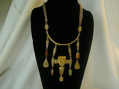 Unsigned Goldette Vintage Necklace Egyptian Revival Dangling Scarab & Beads AeB