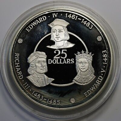 1980 Cayman Islands $25 Silver Proof 12k Mintd Richard III Edward IV & V Coin