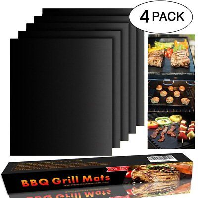BBQ Grill Mat Set of 4 - Non Stick Oven Liners Teflon Cooking Mats - Perfect for