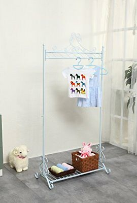 Chic Hanging Clothes Rail Metal Garment Coat Clothing Rack Stand With Shoes Stor