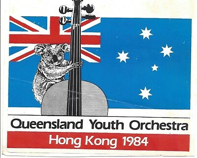 Queensland Youth Orchestra Trip To Hong Kong Sticker 1984 Rare