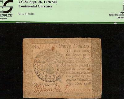 All Seeing Eye Sept 26, 1778 $40 Dollar Note Continental Currency Cc-84 Pcgs