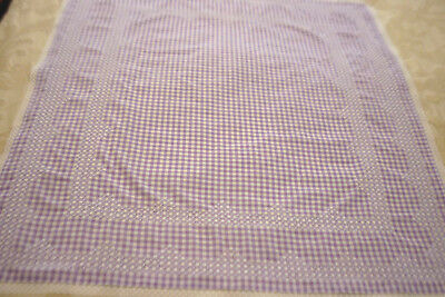 Gingham Tablecloth Lilac & White / White Cross Stitch Lace Edge Sz 102 X 107Cm