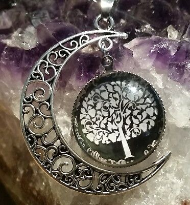 WOW - NEW EYE CATCHING PENDANT WITH GLASS TREE OF LIFE & HALF MOON plus chain